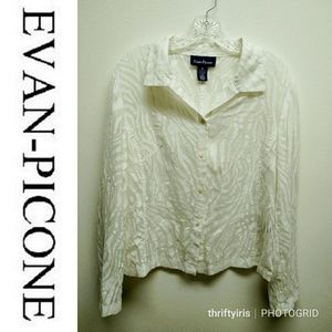 Evan Picone Cream-Colored Animal Carved Blouse